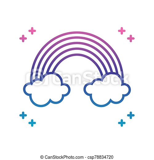 rainbow and clouds icon, gradient line style - csp78834720