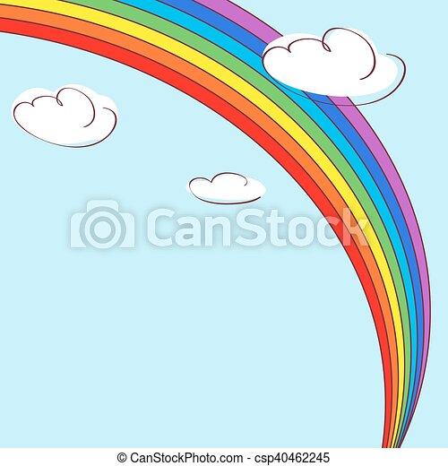 rainbow and clouds light blue vector background rainbow eps rh canstockphoto com vector lighthouse vector lighthouse