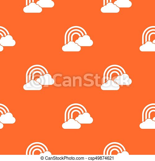 Rainbow and clouds pattern seamless - csp49874621