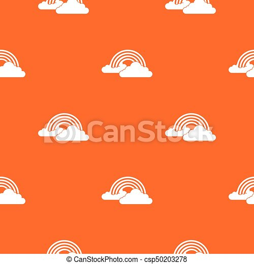 Rainbow and clouds pattern seamless - csp50203278