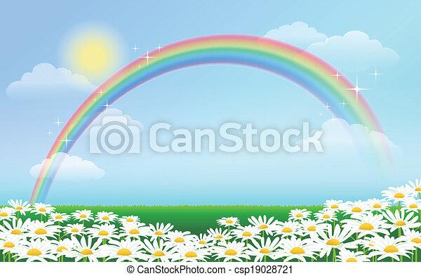 Rainbow and daisies against blue sky - csp19028721