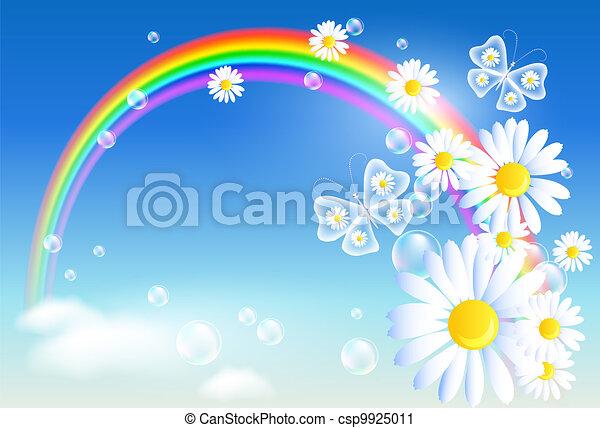 Rainbow and flowers - csp9925011