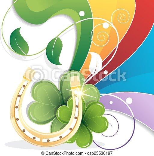 Rainbow and gold horseshoe - csp25536197