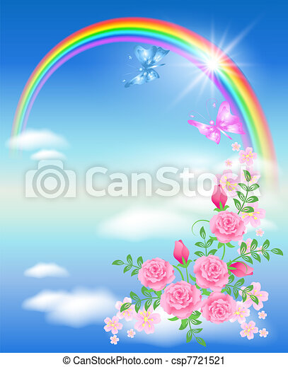 Rainbow and roses - csp7721521