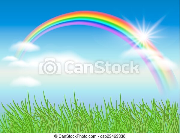 Rainbow and sun - csp23463338