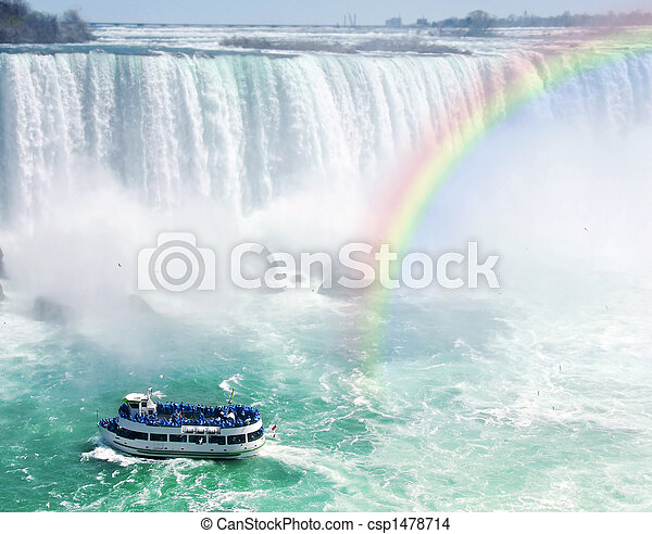 Rainbow and tourist boat at Niagara Falls - csp1478714