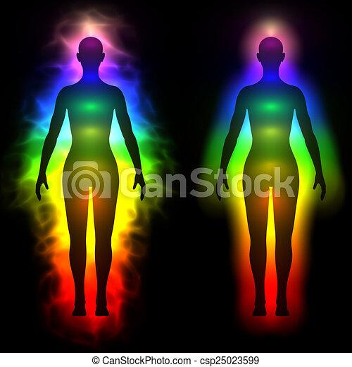 rainbow aura of woman silhouette 3d illustration of rainbow aura