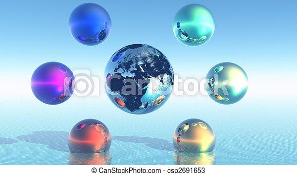 Rainbow balls around earth - csp2691653