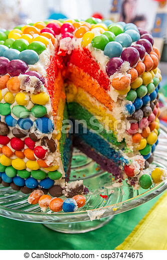 Marvelous Rainbow Birthday Cake Cutted On Party Table Funny Birthday Cards Online Alyptdamsfinfo
