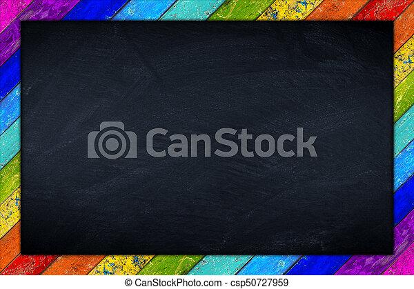 Rainbow blackboard wooden frame. Blackboard with colorful rainbow ...