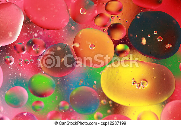rainbow bubbles colored bubbles of oil mixed with water