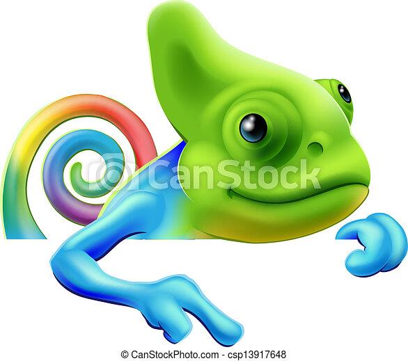 Rainbow chameleon pointing down - csp13917648