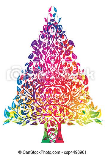 Colorful Christmas Tree Vector.Rainbow Christmas Tree