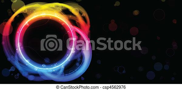 Rainbow Circle Border with Sparkles and Swirls. - csp4562976
