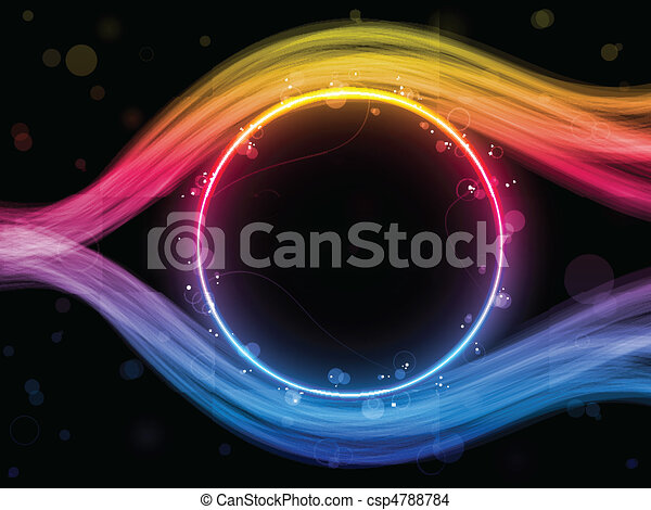 Rainbow Circle Border with Sparkles and Swirls. - csp4788784