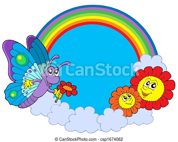 Rainbow circle with butterfly and flowers - csp1674062