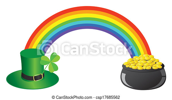 vector rainbow hat pot with gold clip art vector search drawings rh canstockphoto co uk