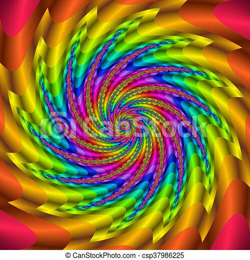 Rainbow colored 3D fractal spiral - csp37986225