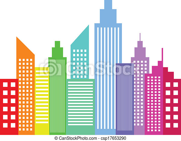 rainbow colored modern city skyscrapers buildings eps vectors rh canstockphoto ie building clip art free building clipart transparent background