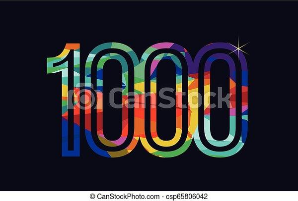 rainbow colored number 1000 logo company icon design - csp65806042
