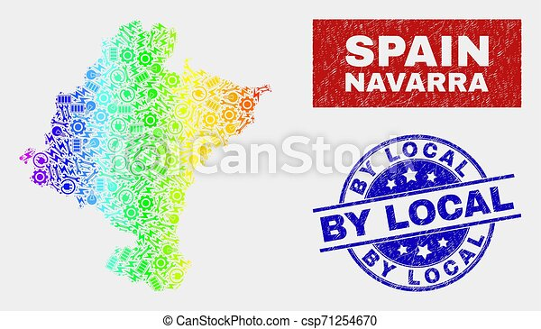 Rainbow Colored Productivity Navarra Province Map and Scratched By Local Seals - csp71254670