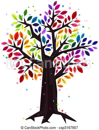 rainbow colored tree