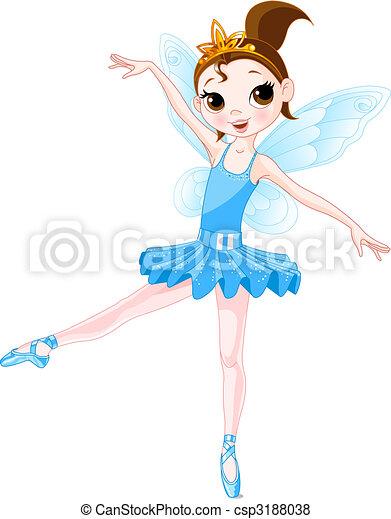 (Rainbow colors ballerinas series). Blue Ballerina - csp3188038