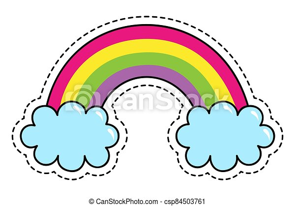 Rainbow colors fantasy patch cute cartoon summer symbol with sky isolated on white background - csp84503761