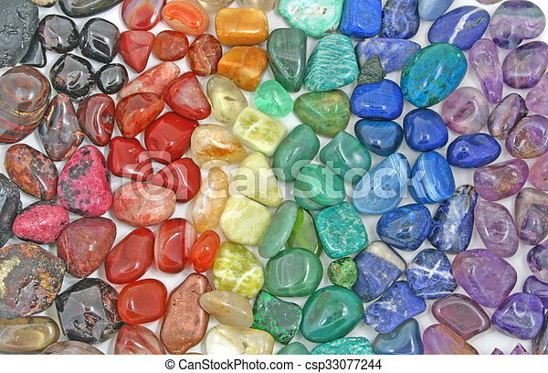 Rainbow Crystal tumbled stones - csp33077244
