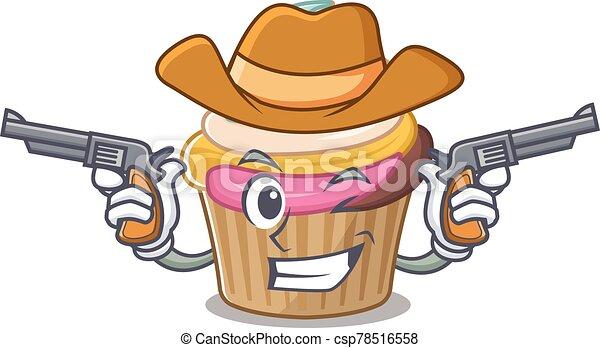 Rainbow cupcake Cowboy cartoon concept having guns - csp78516558