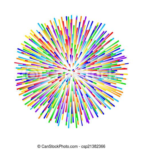 rainbow fireworks on white background - csp21382366