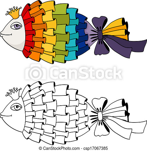 rainbow fish coloring vector illustration isolated vector search rh canstockphoto com rainbow fish clip art black and white