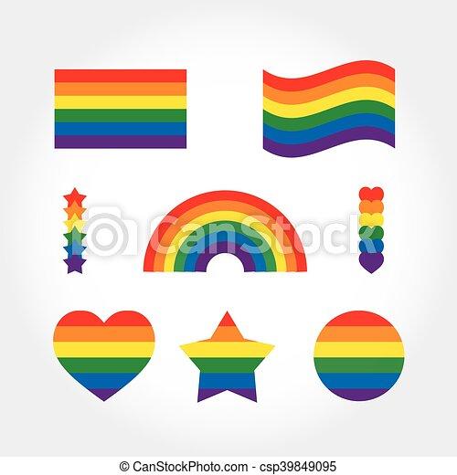 rainbow flag set gay pride symbols star heart icons