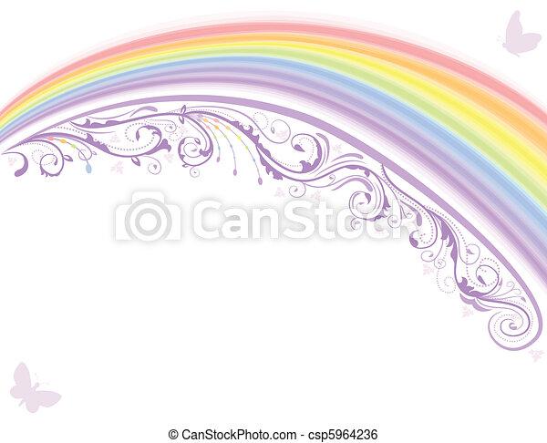 Rainbow floral card - csp5964236