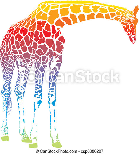 rainbow giraffe vector - csp8386207