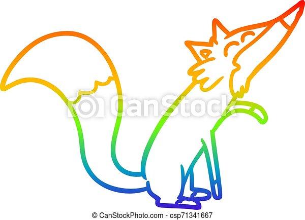 rainbow gradient line drawing cartoon fox - csp71341667