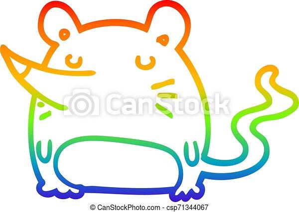 rainbow gradient line drawing cartoon mouse - csp71344067