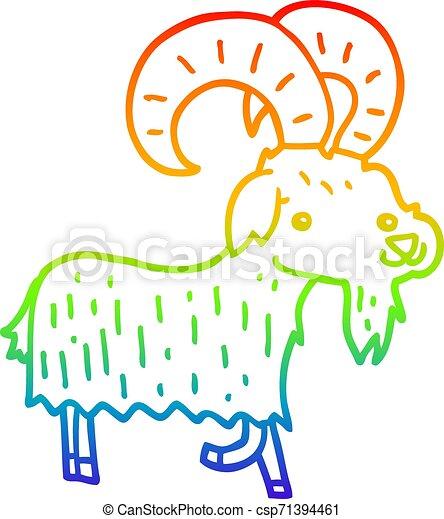 rainbow gradient line drawing cartoon goat - csp71394461