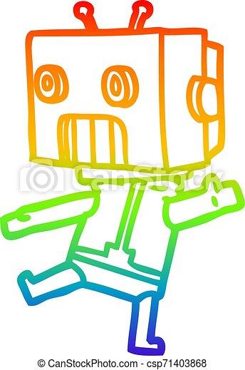 rainbow gradient line drawing cartoon robot - csp71403868