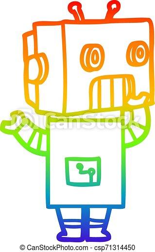 rainbow gradient line drawing cartoon robot - csp71314450