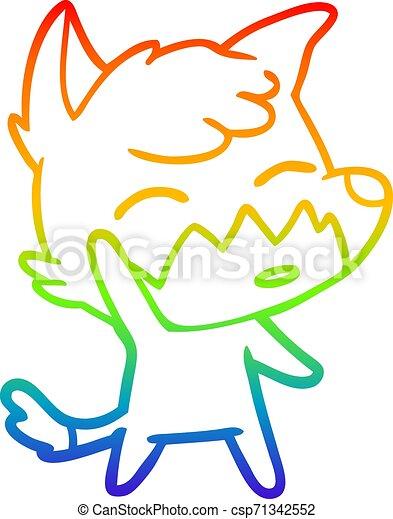 rainbow gradient line drawing cartoon fox - csp71342552