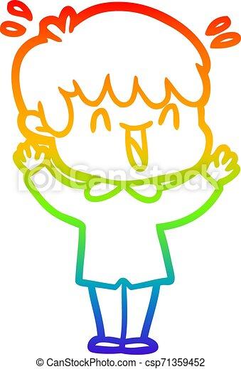 rainbow gradient line drawing cartoon laughing boy - csp71359452