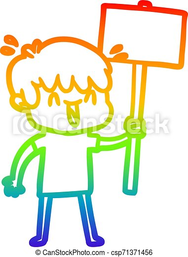 rainbow gradient line drawing cartoon laughing boy - csp71371456