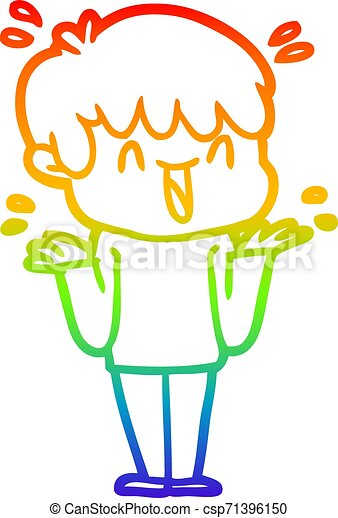 rainbow gradient line drawing cartoon laughing boy - csp71396150