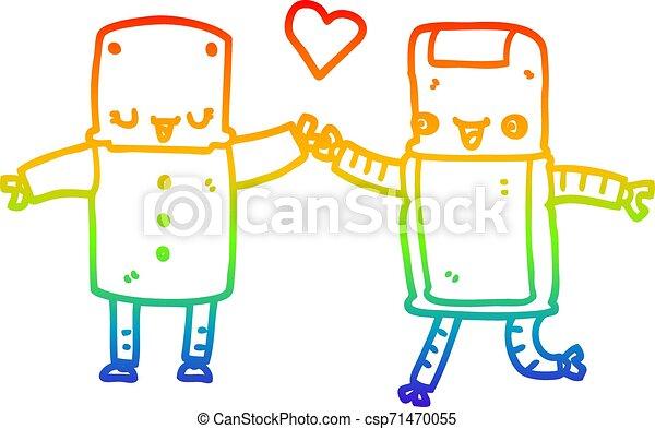 rainbow gradient line drawing cartoon robots in love - csp71470055
