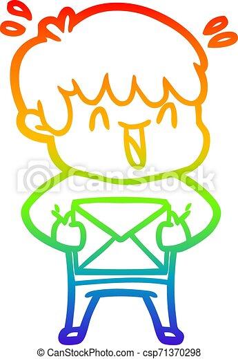 rainbow gradient line drawing cartoon laughing boy - csp71370298