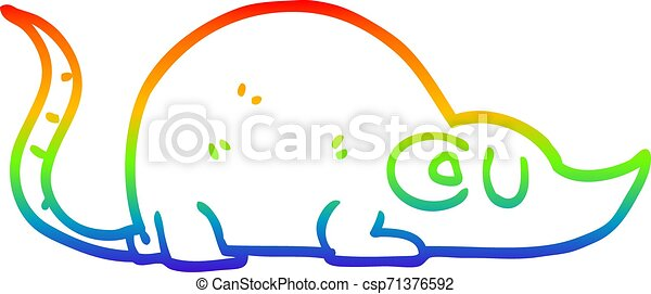rainbow gradient line drawing cartoon mouse - csp71376592