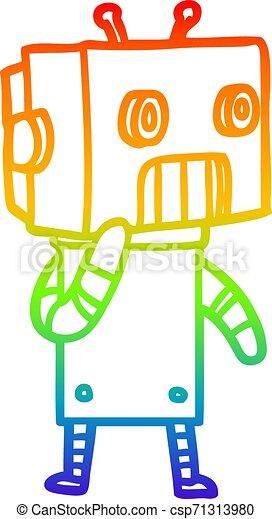 rainbow gradient line drawing cartoon robot - csp71313980