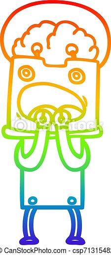 rainbow gradient line drawing cartoon robot - csp71315482