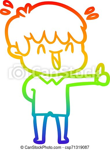 rainbow gradient line drawing cartoon laughing boy - csp71319087